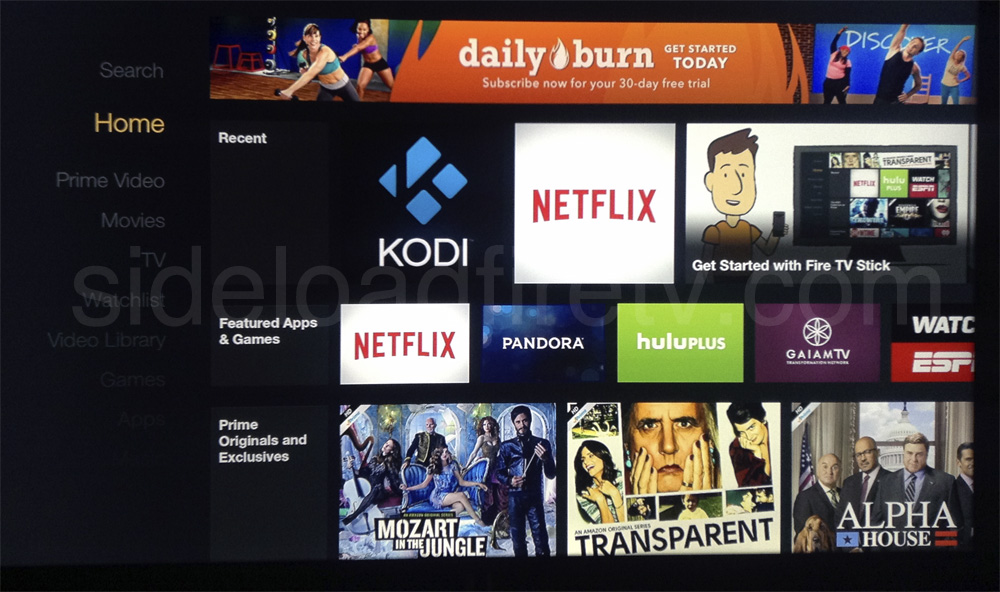 how to get to kodi home screen